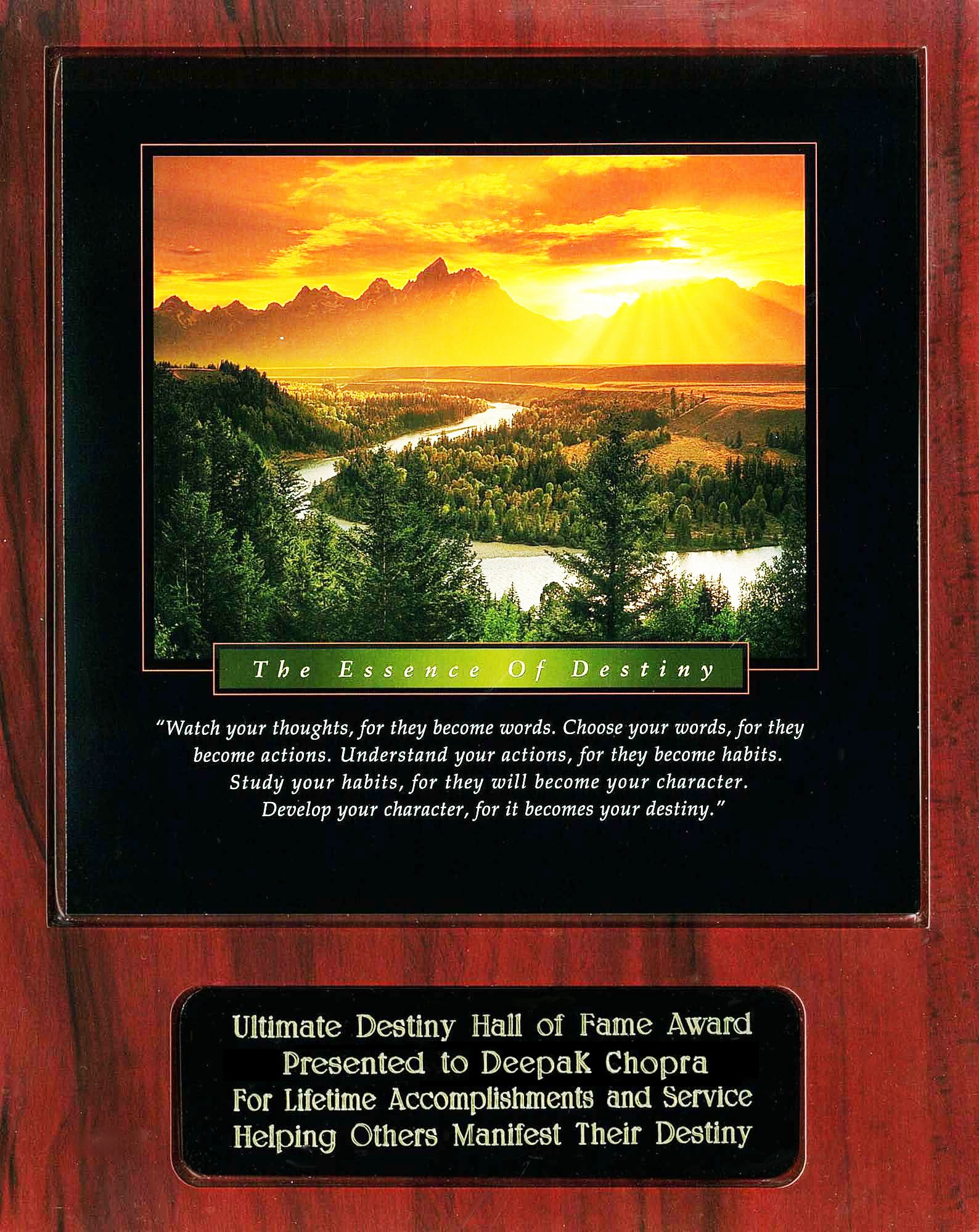 Deepak Chopra Ultimate Destiny Hall of Fame Award Recipient Plaque