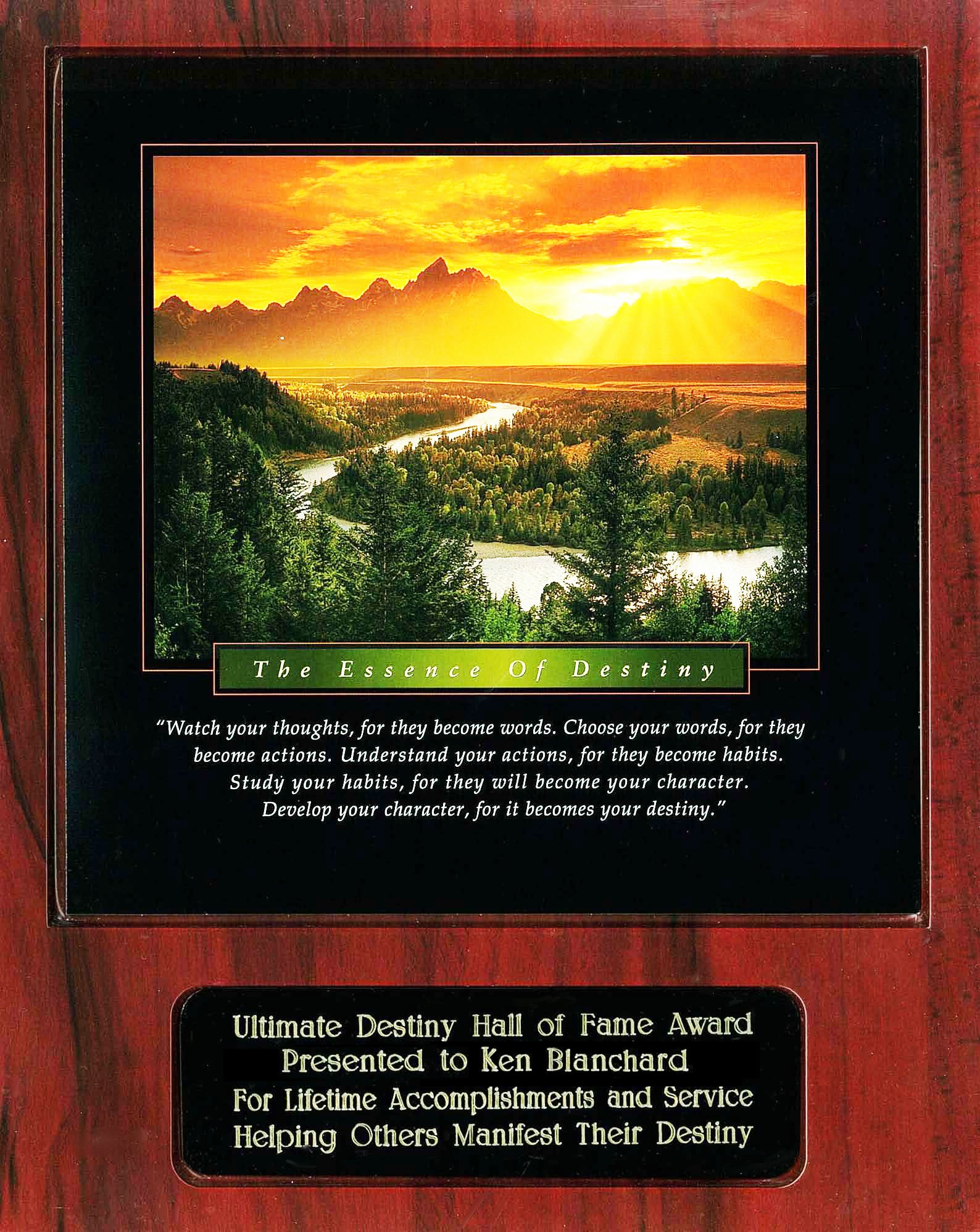Ken Blanchard Ultimate Destiny Hall of Fame Award Recipient Plaque